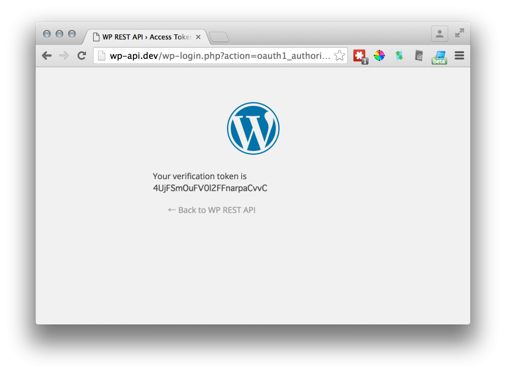 The screen we see after authorization. Should be redirected to oauth callback url if defined well.