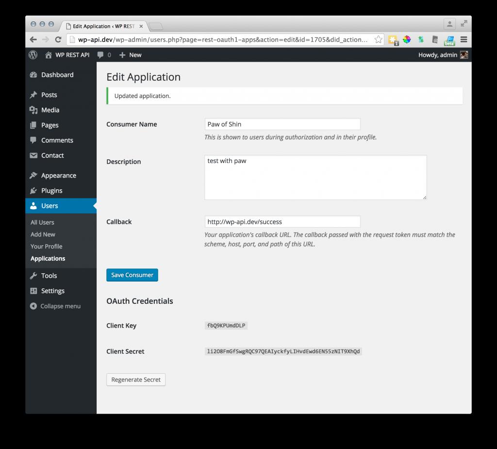 GUI of OAuth server plugin